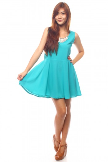 Multi Bow Back Skater Dress