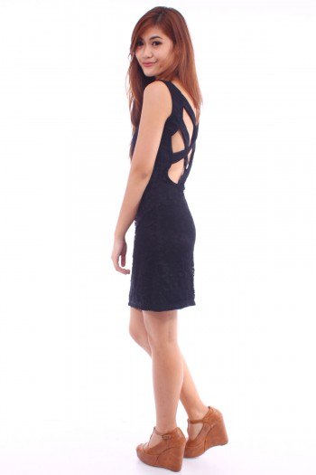Cross Back Strap Lace Dress