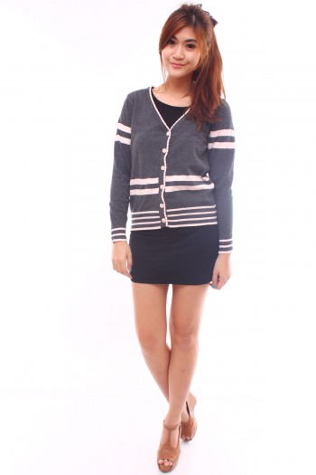 Striped Cardigan with Bow