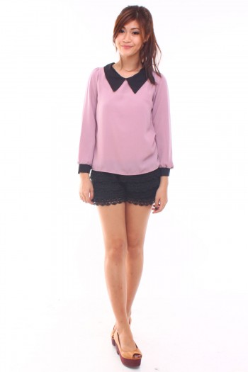 Sharp Collar Long Sleeves Top