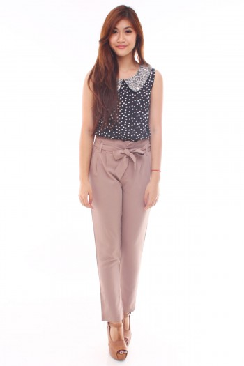 Lace Peterpan Polkadot Top