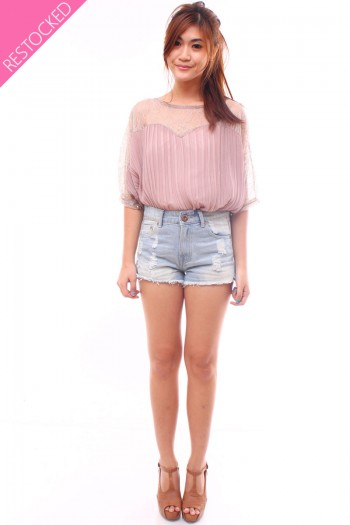 Lace Sweetheart Pleated Top