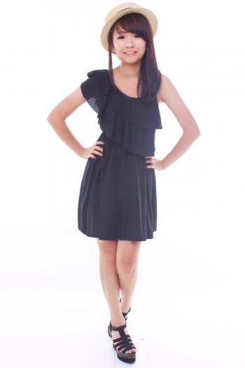 Asymmetric Ruffled Dress