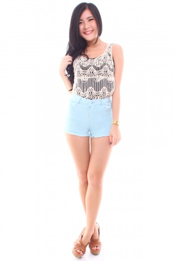 Pastel Denim Shorts