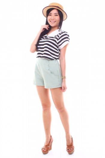 Scallop Pockets High Waist Shorts