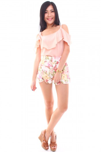 Floral High Waist Slit Shorts