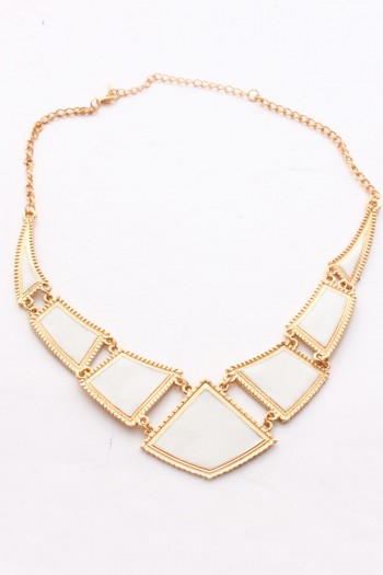 White and Gold Angular Necklace