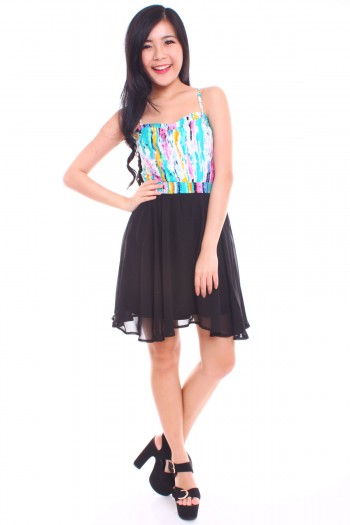 Watercolour Sweetheart Bib Dress