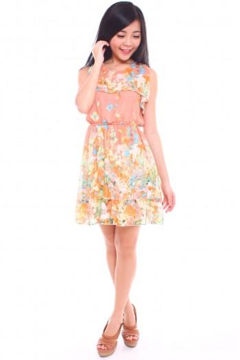 Ruffled Floral Chiffon Dress